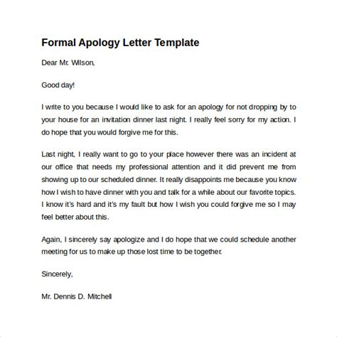 apology card templates word sle formal apology letter 7 free documents
