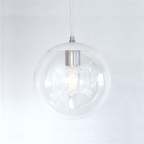 Clear Glass Globe Pendant Light White Pendant Light Mid Century Modern 8 Clear Glass