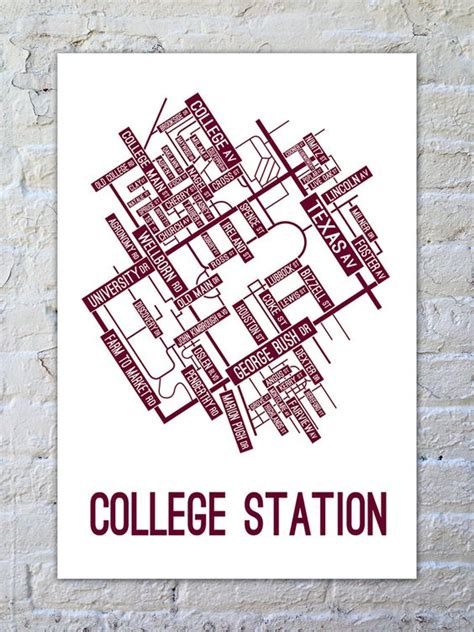 texas station map college station texas map poster school posters aggieland i you