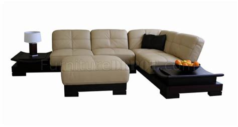 side sectional sofa beige leather sectional sofa with built in side tables