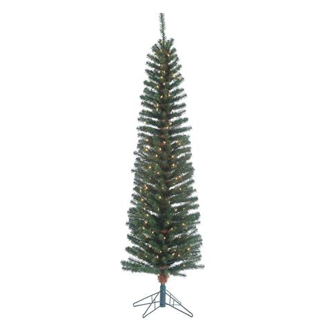 sterling 6 5 ft pre lit narrow pencil fir artificial