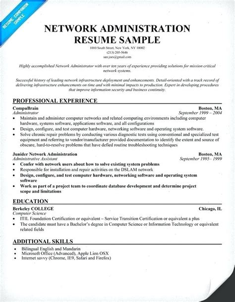 Networking Experience Resume Sles by Exelent Network Administrator Resume Sle Freshers