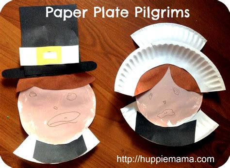 Pilgrim Paper Plate Craft - paper plate pilgrims thanksgiving crafts