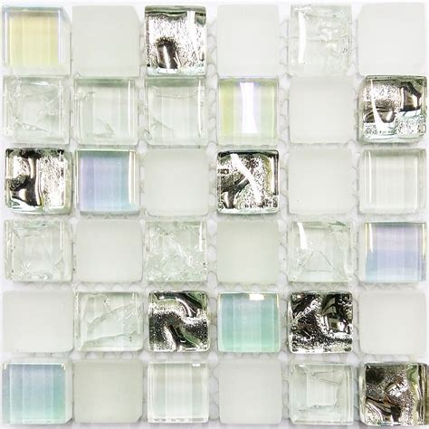 glass tile sample ice white iridescent aqua glass tile