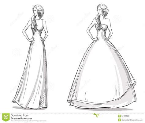 desain dress vector fashion hand drawn illustration long dress bride stock