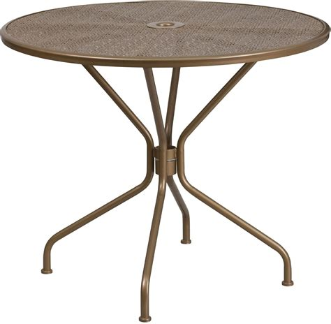 Steel Patio Table 35 25 Quot Gold Indoor Outdoor Steel Patio Table From