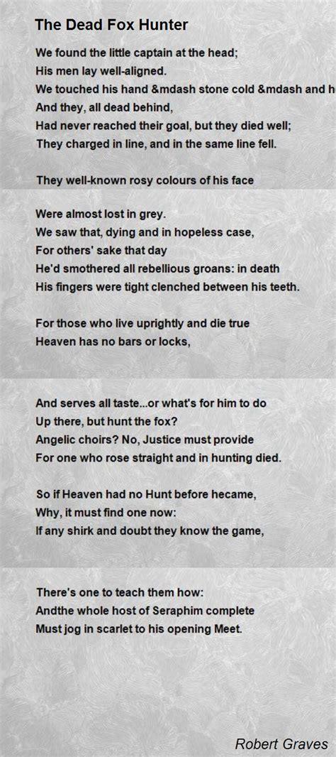 the dead fox hunter poem by robert graves poem hunter