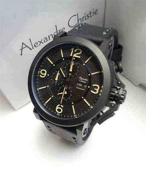 Jam Tangan Alexandre Christie Leather jual alexandre christie ac 6281 black steel black leather