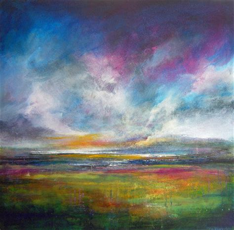 Abstract Landscape Uk Colourful Original Abstract Landscape Painting In Blues