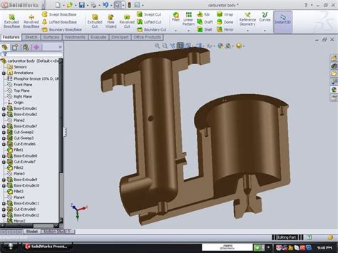 solidworks pattern of bodies simple carburettor body