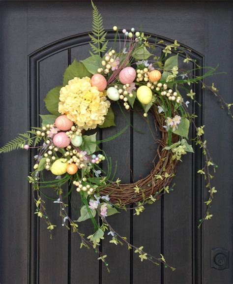 indoor wreaths home decorating spring wreath easter egg wreath summer wreath grapevine door