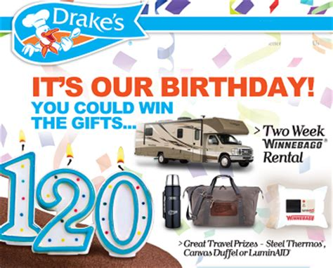 Anniversary Sweepstakes - drake s cake 120th anniversary sweepstakes giveaway