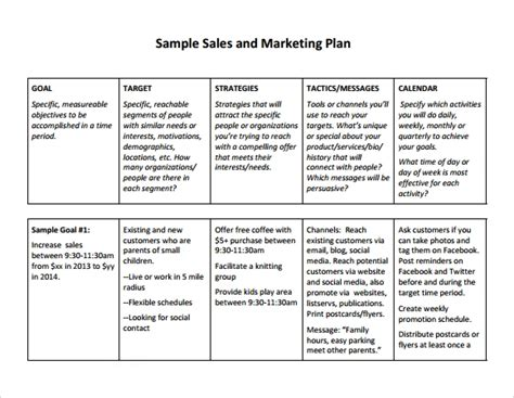 sales plan template peerpex