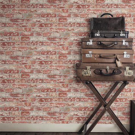red peel and stick wallpaper roommates 28 18 sq ft stuccoed dark red brick peel and