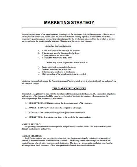 marketing strategy plan template free sle marketing strategy template 7 free documents