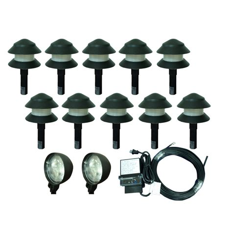 Landscaping Lighting Kits Shop Portfolio 10 Light 0 Flood Light 2 Spot Light Black Low Voltage 4 Watt 4 W Equivalent