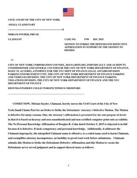 Civil Court Of The City Of New York Search Snyder V Nyc Dept Of Finance Motion To Strike Opposition Memo Of Due Process