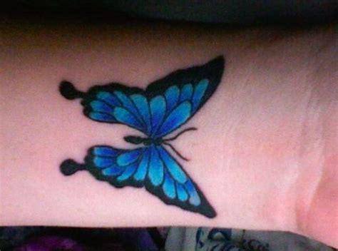 blue butterfly tattoo blue butterfly wrist