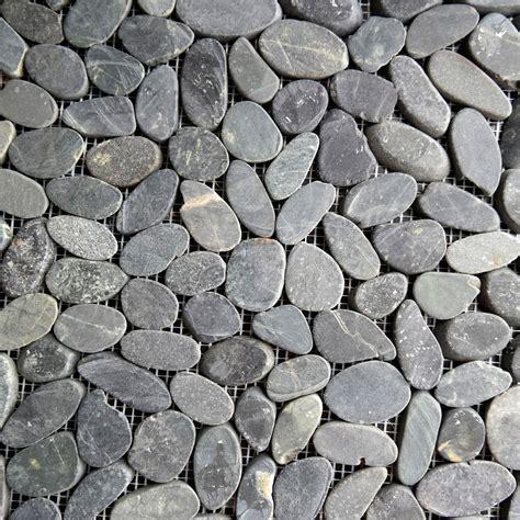 black sliced stone pebble mosaic tile