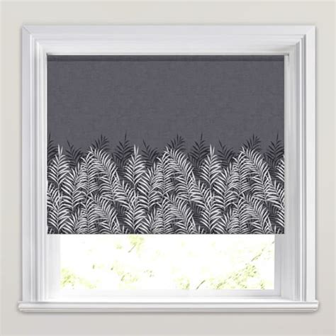 white patterned roller blind luxury charcoal black white fern patterned roller blinds