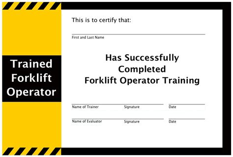 forklift certification card template free admin