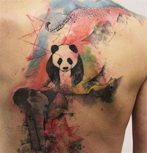 panda elephant tattoo watercolor elephant panda cheetah tattoo on back and