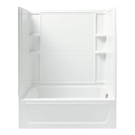 sterling bath shower sterling ensemble 32 in x 60 in x 74 in bath and shower kit with right drain inwhite
