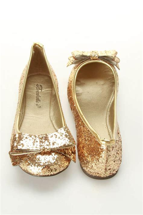 Golden Flats by Breckelle S Erika 23 Glitter Ballet Flats Sparkly Gold