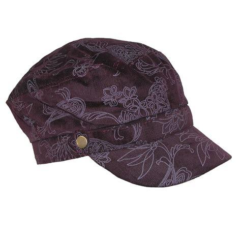 ctm 174 womens corduroy flower print cadet hat