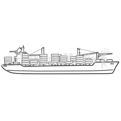 how to draw a cargo boat freight ship outline drawing presentation clipart