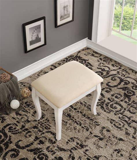 Roundhill Furniture Moniya White Wood Vanity Table And Stool Set by Roundhill Furniture Wood Make Up Vanity Table And