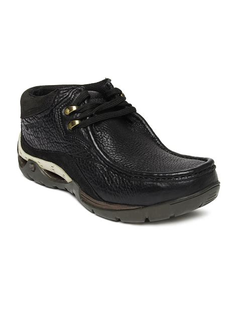buy woodland black leather casual shoes 632