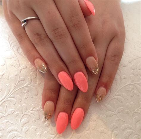coral color nails coral and nails makeup in 2019 nails nails