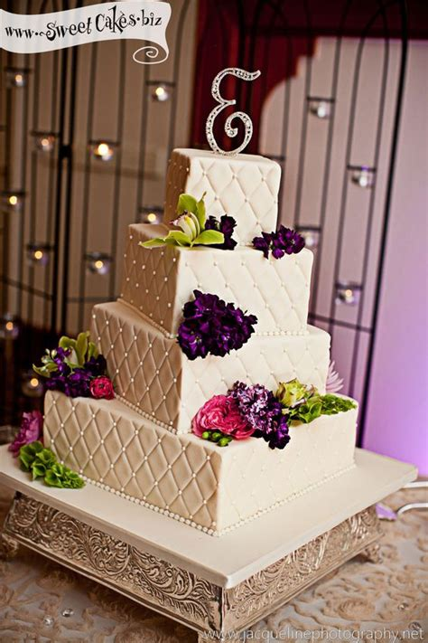 How To Quilt A Square Cake by 4 Tier Square Wedding Cake With Quilting And Fresh