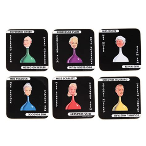 Clue Cards Template With 10 Suspects by Cluedo Coasters 6 Pack Iwoot