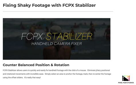 final cut pro stabilization fcpx stabilizer was released by pixel film studios for