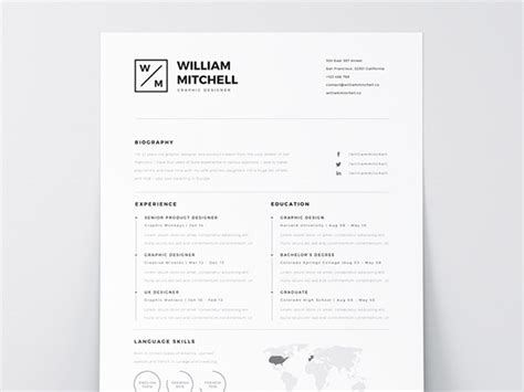 cv design minimalist 33 free resume cv templates to help you get your job