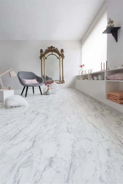 white marble effect vinyl flooring 4 wall decal
