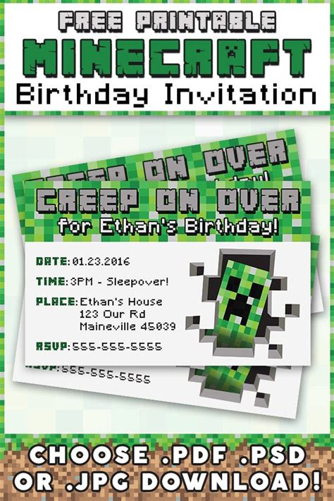 printable minecraft invitation template free minecraft printable invitation birthdays printable