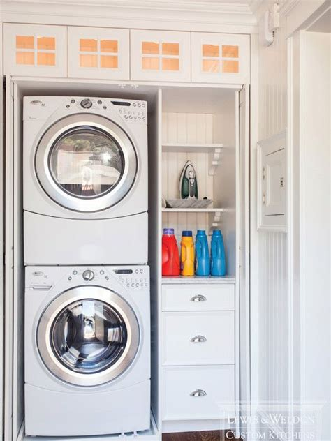 Small Laundry Room Storage Lewis And Weldon Laundry Closet With Stackable Front Loading Washer And Dryer And Built