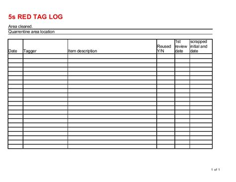 Red Tag Log 5s Tag Template