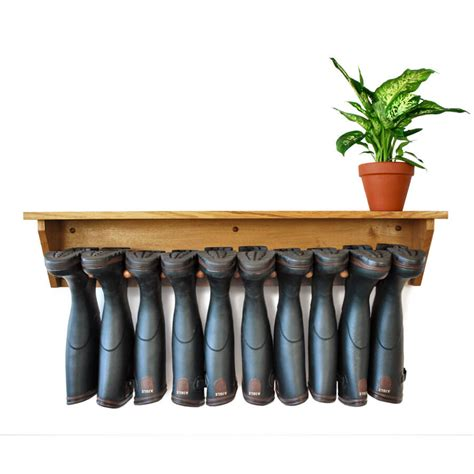 Wall Boot Rack by Oak Wall Hanging Welly Rack 5 Pair Boot And Saw