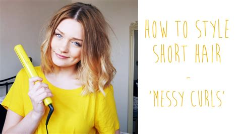 HOW TO: MESSY CURLS FOR SHORT HAIR   tinytwisst   YouTube