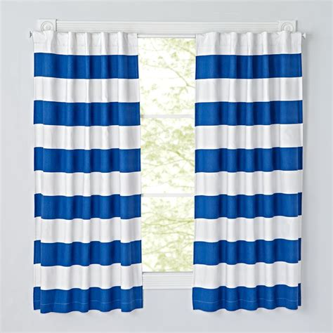 blue stripe curtain set of 2 cabana stripe blue blackout curtains the land