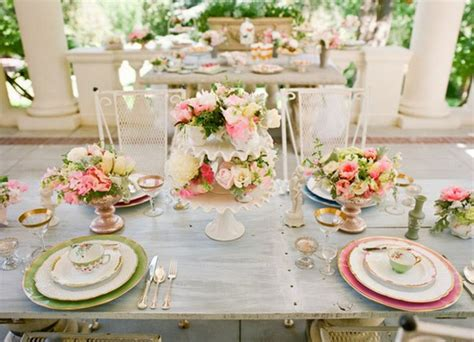 beautiful table settings green and brown pink green grey wedding palette