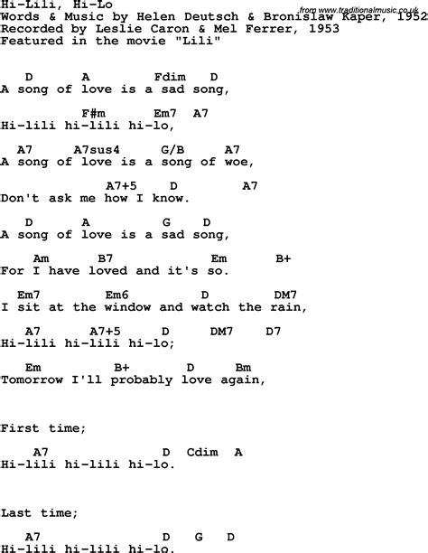 lyrics leslie song lyrics with guitar chords for hi lili hi lo leslie