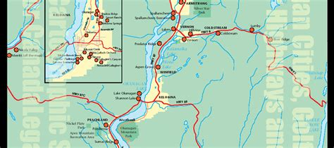 Bc Finder Large Highway Map Of Okanagan Region Of Bc City Towns Kamloops Vernon Kelowna