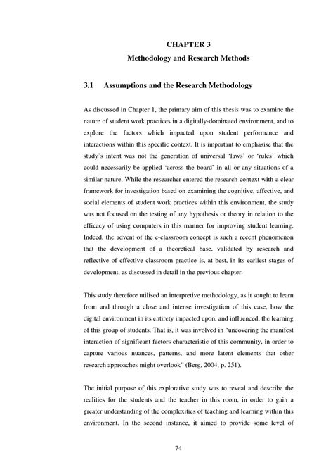 methodology chapter dissertation exles exle of research methodology in a thesis photo