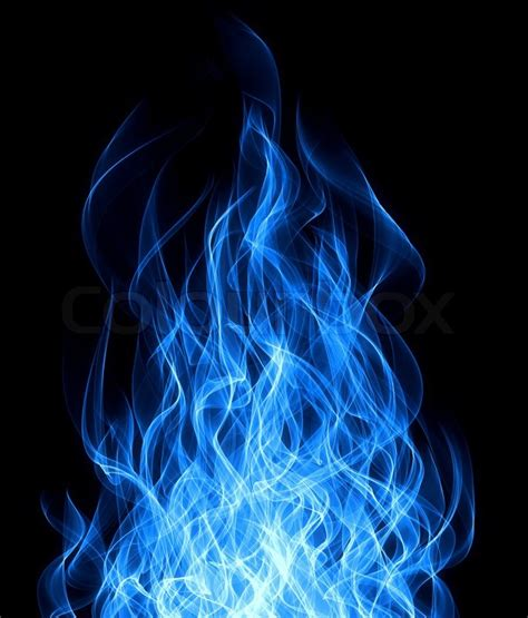 Home Design Credit Card blue gas fire flame on black background stock photo