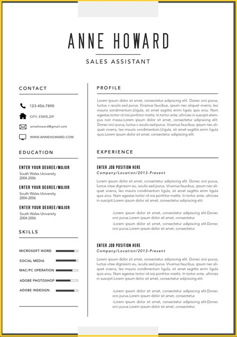 Resume Template For Microsoft Word by Free Modern Resume Templates Microsoft Word Modern